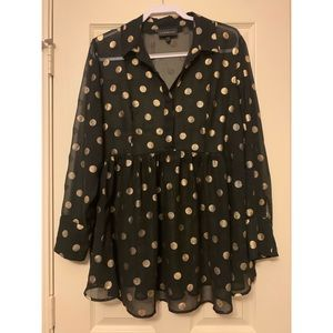 Lane Bryant Polka Dot Sheer Blouse